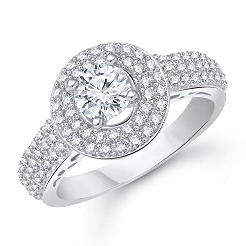 VK Jewels Jewels Royal Silver Brass Alloy CZ American Diamond Ring for Women VKFR1550R12