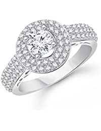 VK Jewels Silver Solitaire Rhodium Plated Ring for Girls