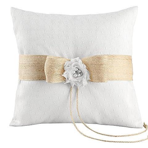 Ivy Lane Design Miranda Collection Ring Pillow, 8-Inch, White