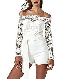 5bb2697421a15 Jolisson Combishort Bustier Femme Manche Longue Dentelle Combinaison  Jumpsuit Bodysuit Fille Casual Eté Blanc ...