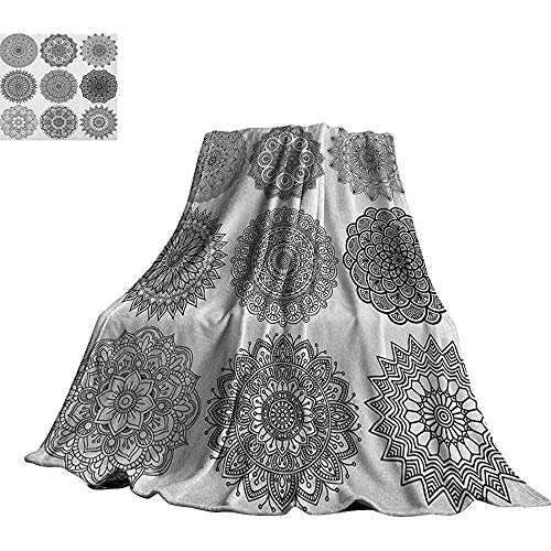 mallcentral-EU Henna, Soft Blanket Ornamental Mandala Design Symmetrische ethnische Motive Eastern Arabic Ottoman Inspiration Blanket