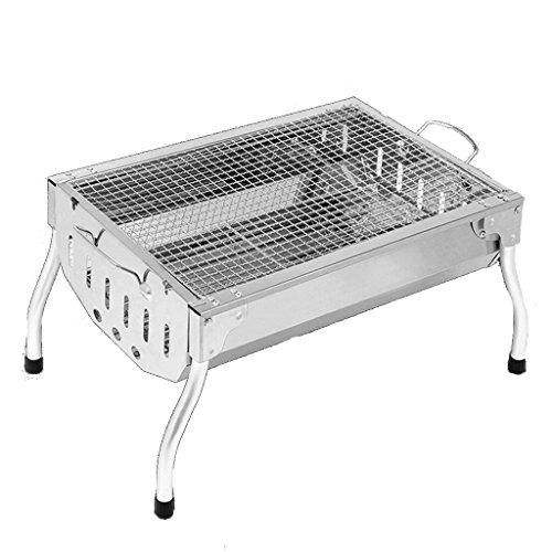 YONG- Petit barbecue Grill extérieur courts pieds en acier inoxydable four à charbon de bois portable plier des outils de barbecue de ménage