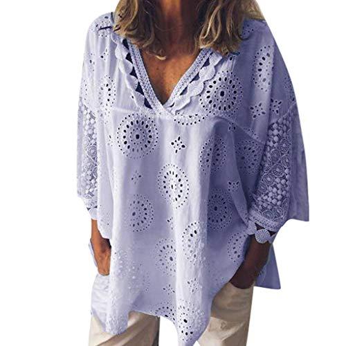 OVERDOSE Mokingtop Damen Floral Splice Printing Rundhals Pullover Bluse Tops T-Shirt (S, A-a-bLila) (26-halloween Kostüme Damen-größe)