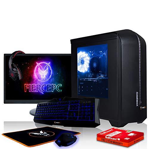 Fierce Storm Gaming PC Bundeln - Schnell 4.1GHz Hex-Core AMD FX-6300, 1TB Festplatte, 8GB 1600MHz, NVIDIA GeForce GTX 1060 6GB, Tastatur (VK/QWERTY), Maus, 24-Zoll-Monitor, Headset 369783