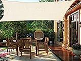 HENG FENG Vela Ombreggiante Tenda a Vela Rettangolare HDPE 4 x 6 M Traspirante e Protezione Solare Anti UV per Esterni Giardino Verande Colore Beige
