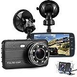 Auto Dash Kamera mit Nachtsicht, 4 '' HD Bildschirm Dual Cam Video Recorder | FHD 1080P 170 ° Weitwinkel Auto Kamera Vorne und Hinten mit G-Sensor, Sprachaufzeichnung, Parkmodus, Loop Aufnahme