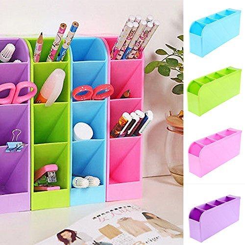 Generic violeta: nueva llegada 4compartimentos lápices bolígrafos cosméticos caja de almacenamiento ropa interior organizador para barra de escritorio oficina cajas