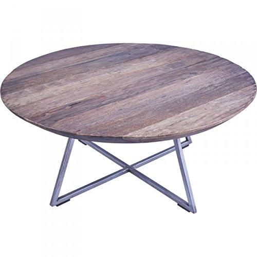 KOH DECO Table Basse Ronde Bogor en Vieux Teck Ø 80 cm
