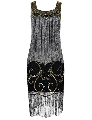 PrettyGuide Damen 1920er Charleston Kleid Paillette Franse Gatsby Cocktail Kleid ()
