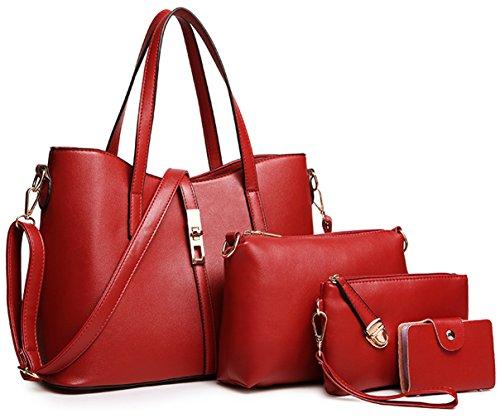Tibes PU cuir sac à main + épaule de sac de femmes de la mode + porte-monnaie + carte 4pcs mis Vin rouge1