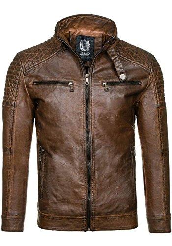 BOLF Ökolederjacke Herrenjacke Sweatjacke Zipper Sweatshirt FEIFA FASHION 9103 Braun_1773A