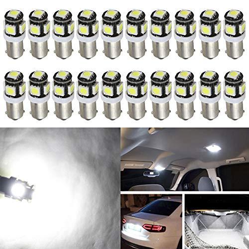 20-Pack BA9S BA9 12146 1445 1705 Blanc LED Lumière 12V, 5 SMD 5050 Voiture Remplacement 6253 64111 Ampoule pour Carte, Dôme, Courtoisie, Coffre, Plaque D'immatriculation, Feu de Position Latéral