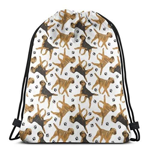 Reputation shop Trotting Border Terriers 3D Print Drawstring Backpack Rucksack Shoulder Bags Gym Bag for Adult 16.9