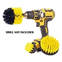 Meccion Drill Brush Set 3 Pieces All Purpose Power Scrubber Cleaning Kit- Medium Stiffness Clean Scrubbing Brushes for Bathroom, Kitchen, Auto, Tiles - Yellow