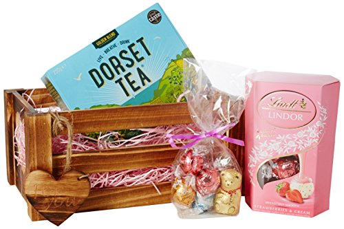 Strawberries & Cream - For You Crate - By Moreton Gifts, Lindt Chocolate, Dorset Tea Hamper - Mother's Day, Summer