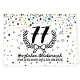 Große Glückwunschkarte zum 77. Geburtstag XXL (A4) Schnaps-Zahl/mit Umschlag/Edle Design Klappkarte/Glückwunsch/Happy Birthday Geburtstagskarte/Extra Groß/Edle Maxi Gruß-Karte
