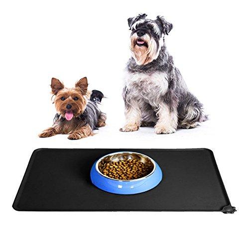 Silikon Futtermatte fuer Haustier, IHRKleid näpfe silikonmatte für Katze oder Hund Futter Wasser Napfunterlage rutschfest und wasserdicht, Silikon Anti-Rutsch Tiernahrung-Matte, Schwarz