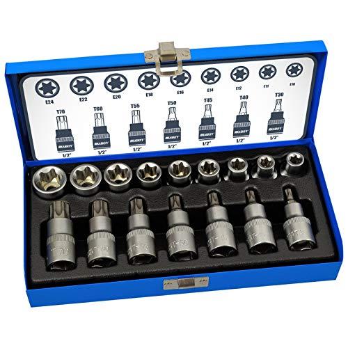 16 tlg. Torx Bit Set Nussatz Torx Vielzahn Nüsse Bit Stecknüsse Werkzeug Set Torx: T30 T40 T45 T50 T55 T60 T70 - E-Torx: E10 E11 E12 E13 E16 E18 E20 E22 E24