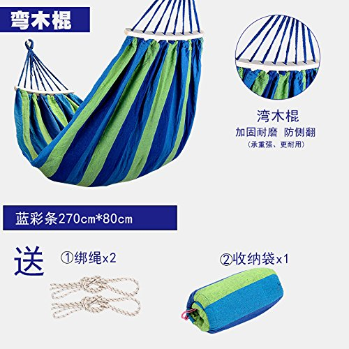 VVDYC-Outdoor canvas hammocks single double room balcony padded bed Chair rollover prevention send Organizer ropes,Wooden frame,Single blue