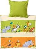Kinderbutt Bettwäsche mit Druckmotiv Tiere Biber orange-grün-natur Größe 135x200 cm (80x80 cm)