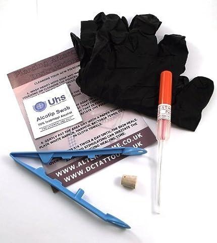 DCTattoo 1.6mm (14g) Steril Kanüle Nadel Piercing Satz Für Brücke Nase Piercing. Set Beinhaltet Kugel-Bar Stück Von Schmuck