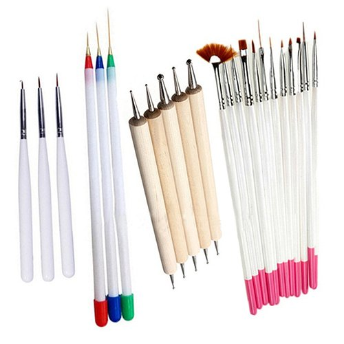 jhtceu 23 Stück Nagelpinsel Beauty Art Zubehör für Nägel Zeichnen Stifte Politur Malpinsel Tips Werkzeug Set UV Gel Girl