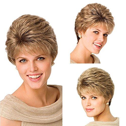La perruque de cheveux courts bouclés d'or de la perruque des femmes peut être chaude colorée