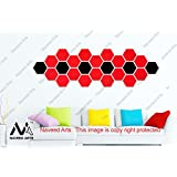 Naveed Arts - Acrylic Hexagon Wall Decor - 24 Hexagon - 18 Red & 6 Black - JB042RB24 - Factory Outlet