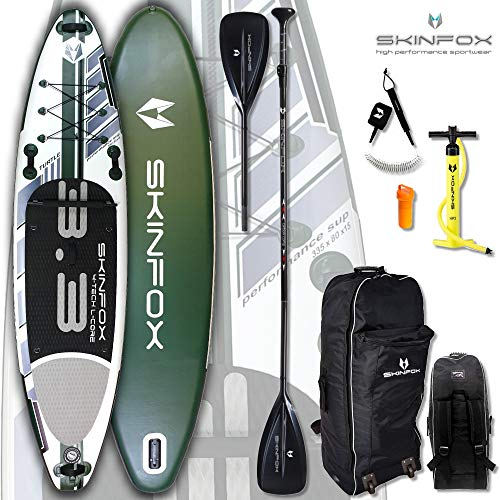 SKINFOX Turtle Carbon-Set (335x80x15) 4-TECH L-CORE SUP Board Paddelboard grün NEUESTE SUP Generation - Testsieger 2018 (Board,Bag,Pumpe,Carbon SUP-/Kayak Paddel,Leash)