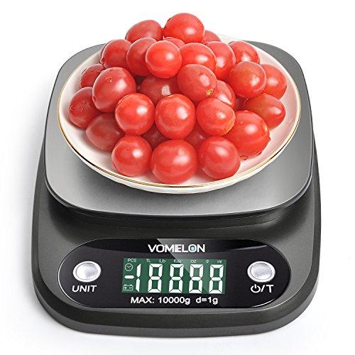 Balance de Cuisine Electronique Balance de Precision 10kg/1g Balance Numérique Cuisine de Haute Précision Acier Inoxydable Écran LCD Rétroéclairé, Fonction Tare, Auto-arrêt, Noir