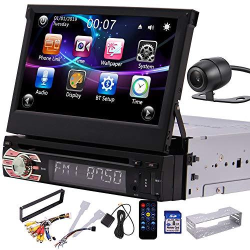 Single DIN Head Unit im Schlag-Auto Stereo mit 7inch Retractable Touch Screen Auto-DVD-Player - GPS-Audio-Video-Receiver-System mit Navigation, Bluetooth, AM, FM, USB, SD, mit R¨¹ckfahrkamera