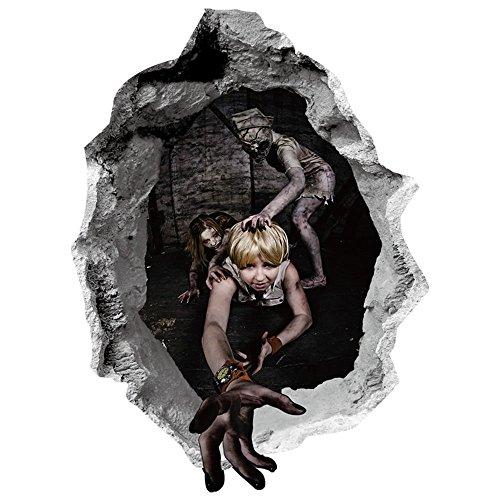 JXAA 3D Scary Horror Wandaufkleber PVC Abnehmbare Halloween Party Abziehbild Dekor 60 x 45 cm (Party Halloween Eingang Ideen)