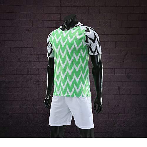 ZMH Nigeria Football Jersey Herren 2018 Russland Weltmeisterschaft Heim Erwachsene Nationalmannschaft Fußball Trikots Grün,XL