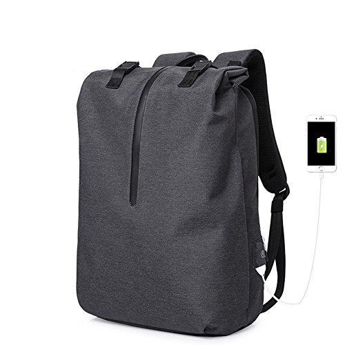 Notebook Tuch Gebunden (MIMI KING Rucksack Für Männer Freizeittasche Laptop Mit USB-Ladeanschluss Trend Einfache Große Kapazität Travel Business Griff 16 Zoll,Black)