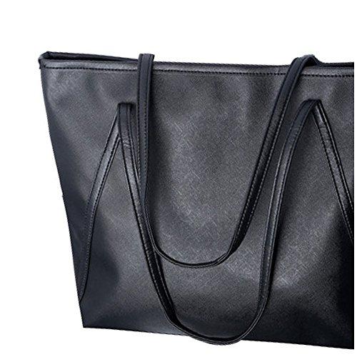 Donne Messenger Borse - SODIAL(R)Donne semplice pelle di maggiore Messenger Borse Shopping Bag NuovoColor:viola Nero
