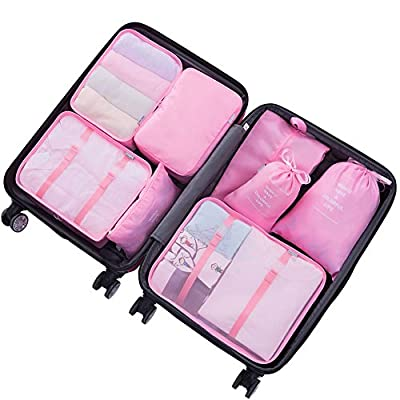 8 Set Suitcase Packing Cubes-Travel Luggage Packing Organizers Luggage Compression Pouches-5 Colour Options