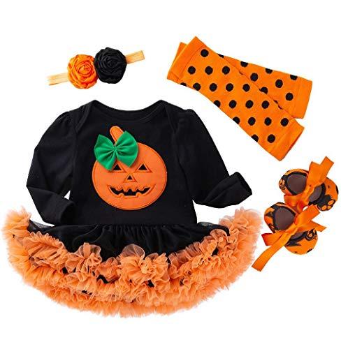 Tomatoa-Baby Mädchen Kleid Set 4 Stück Strampler Langarm mit Tütü Kleid Festlich Halloween Cosplay Kinder Baby Kostüm Babykostüm Schuhe Stirnband Beinwärmer und Haarband (0-2 Jahre alt) (Kürbis Kostüm 2 Jahre Alt)