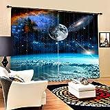 SHASHA Vorhänge 3D 2 Panel Eyelet Ring Top Anti-UV Thermal Blackout Print Persönlichkeit Vorhänge, Einschließlich Haken Und Premium Roman Ringe - Weltraum-Nebel,W203cmH160cm