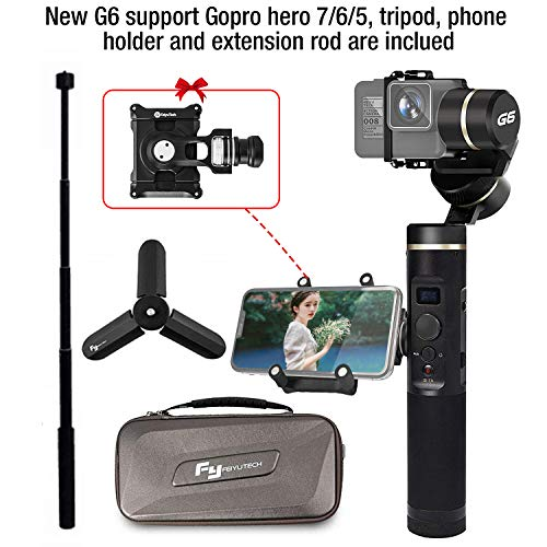 Feiyu G6 Upgraded Gimbal for Gopro Hero 7/6/5/4 with Extension Rod,Phone Holder and Tripod
