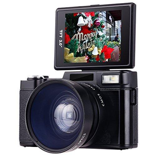Besteker Appareil Photo Numérique 1080p, Caméscope Full HD 24,0MP Caméra Vidéo LCD 3.0 Pouces avec Objectif Macro et Lumière Flash