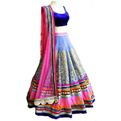 Lehenga Choli (Women's Slub Dupion & Velvet // Blue & Pink Color Lehenga Choli FREE_SIZE)