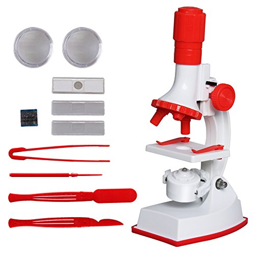 Soriace reg; Kinder Mikroskop Set, 100x 600x 1200x Erzieherisch Microscope Set mit LED-Licht / Wissenschaft Spielzeug für Frühe Erziehung für Kinder Benutzen - Rot