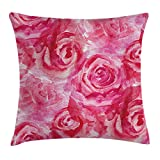 VVIANS Watercolor Flower Throw Pillow Cushion Cover, Mixed Roses Painting Vivid Colors Romantic Floral Design Ornate Nature Theme, Decorative Square Accent Pillow Case, 18 X 18 inches, Pink