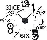 GRAZDesign 800054_BK_070 Wandtattoo Uhr Wanduhr mit Uhrwerk für Wohnzimmer Zahlen international modern (67x57cm // 070 schwarz // Uhrwerk schwarz)