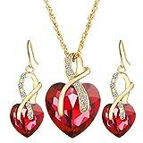 Lialbert Modeschmuck Sets,Damen Herz-Diamant Halskette-Ohrringe Edelsteine AnhäNger Kette Geschenk FüR Frauen