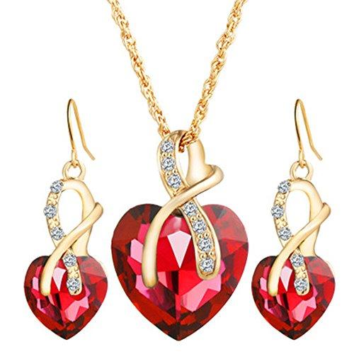 XIAOJING Halskette 2019 Modeschmuck-Set für Damen, Kristall-Herz, Halskette, Ohrringe, Hochzeit Gr. Einheitsgröße, rot -