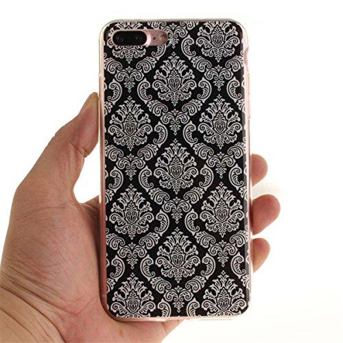 iPhone 7 Plus Custodia Slim Leggero Flessibile TPU Immagine Fiore Fucsia Case per Apple iPhone 7 Plus 5.5 Bianca Colore-10