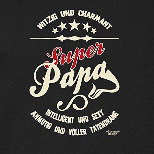 bequemes T-Shirt Herren Männer Motiv Super Papa Geschenk-Idee, Vatertag, Weihnachten langarm Outfit, Kostüm Farbe: schwarz Schwarz