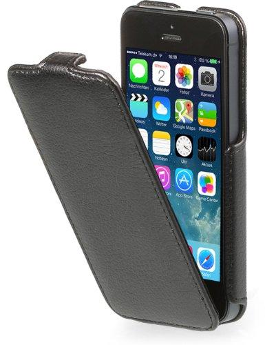 StilGut Slim Case (Variante B) exklusive Tasche für Apple iPhone 5, 5s & iPhone SE Smartphone aufklappbar, Schwarz