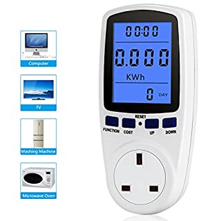 UK Plug Power Meter Electricity Usage Monitor Home Energy Volt Amps Watt Analyzer with Digital LCD Display Overload Protection
